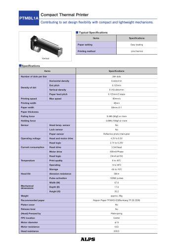 Compact Thermal Printer PTMBL1A Series