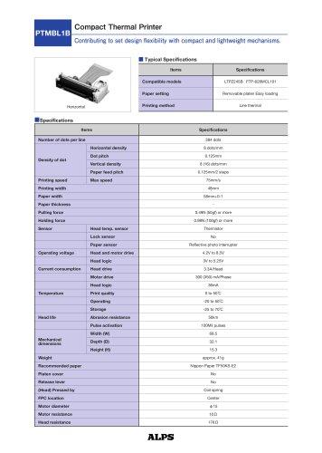 Compact Thermal Printer PTMBL1B Series