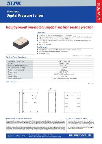 Digital Pressure Sensor HSPPA Series