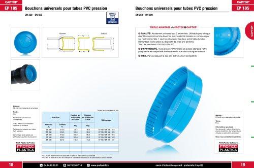 EP 185 Bouchons universels pour tubes PVC pression