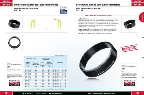 EP 250 Protecteurs ouverts pour tubes chanfreinés