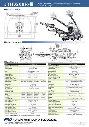 JTH3200R-III Hydraulic Wheel Jumbo with HD220 Hydraulic drifter 3 boom  & 2 cage