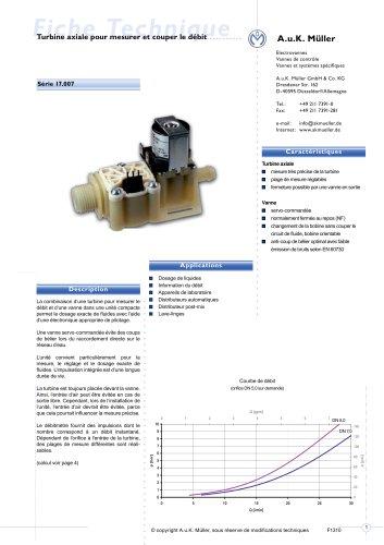 17.007.- Turbine axiale pour mesurer et couper le débit