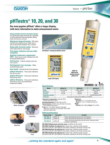 pHTestrs® 10, 20, and 30