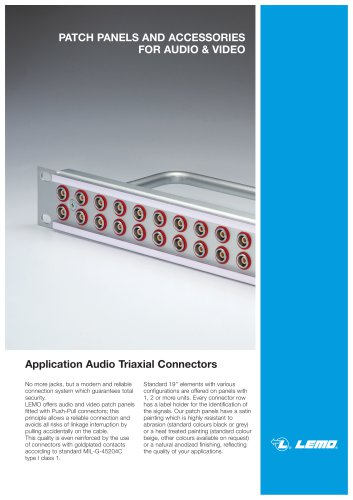 PATCH PANELS AND ACCESSORIES FOR AUDIO & VIDEO