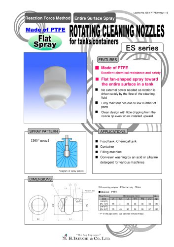 Rotating cleaning nozzles for tanks/containers ES series