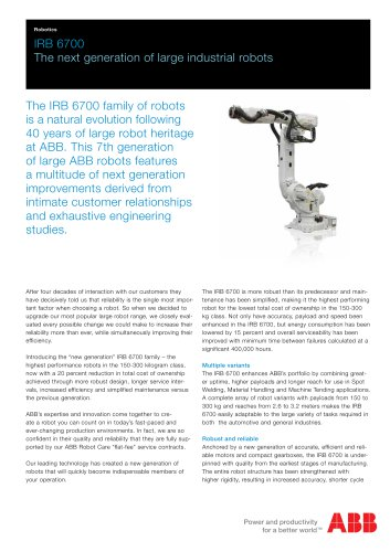 IRB 6700 The next generation of large industrial robots