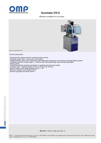 Machine suitable for cut tubes. Euromatic 370 S