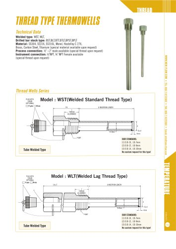 thread type thermowells