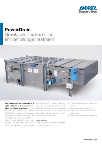 Power drain gravity belt thickener