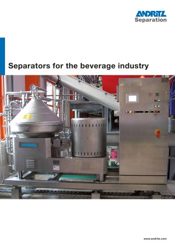 Separators for the beverages industry