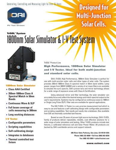 TriSOL Class AAA 1800nm Solar Simulator