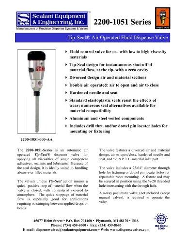 Series Tip-Seal Dispense Valve
