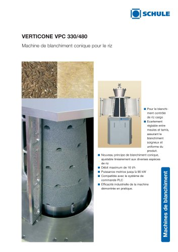 VERTICONE Machine de blanchiment conique pour le riz