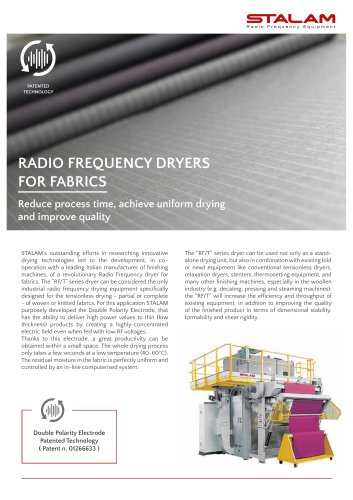RADIO FREQUENCY DRYERS FOR FABRICS