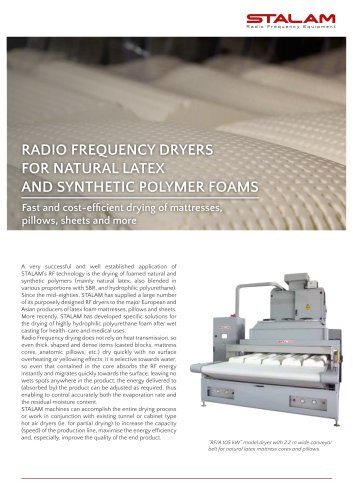 RADIO FREQUENCY DRYERS FOR LATEX AND FOAMED POLYMERS