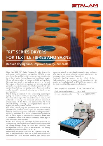 """RF"""" SERIES DRYERS FOR TEXTILE FIBRES AND YARNS"""