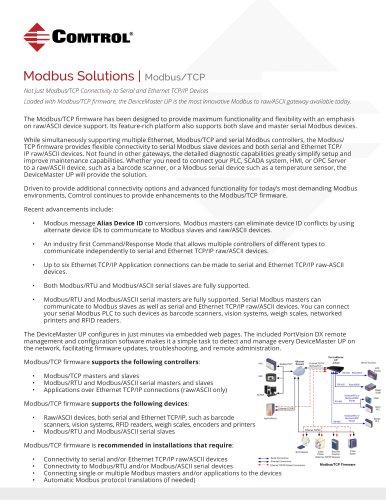 Modbus TCP Solutions