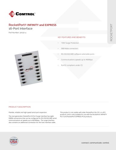 RocketPort ® 16-Port DB9M Interface