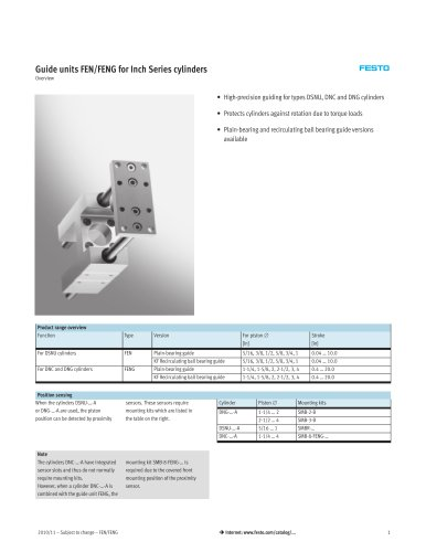 Guide units FEN/FENG for Inch Series cylinders