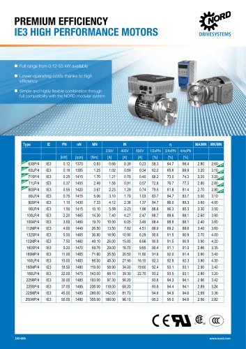 PREMIUM EFFICIENCY IE3 HIGH PERFORMANCE MOTORS -Datasheet (DS1006)