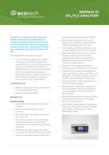 Serinus 51 SO2/H2S Analyser