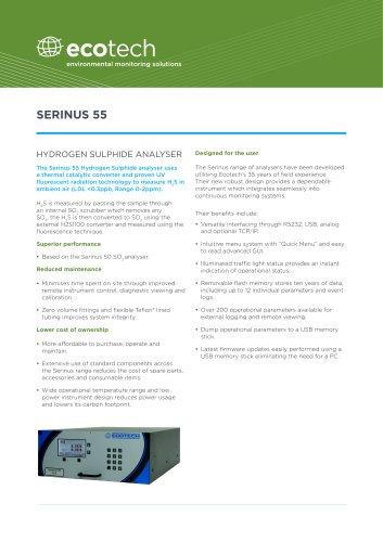 Serinus 55 Hydrogen Sulfide (H2S) Analyzer