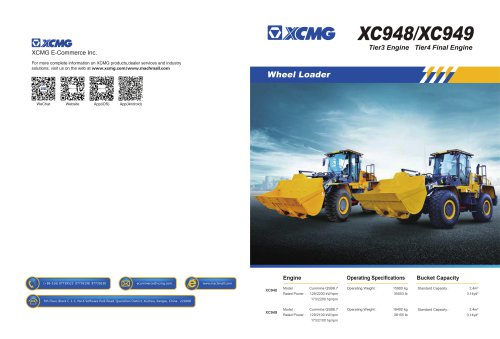 XCMG Tier3 Engine Wheel Loader XC948