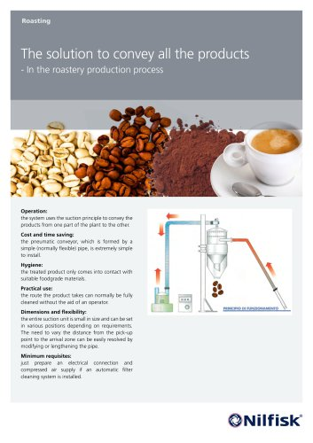 The solution to convey all the products - in the roastery production process.