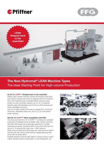 Pfiffner Hydromat LEAN-Machine-Types