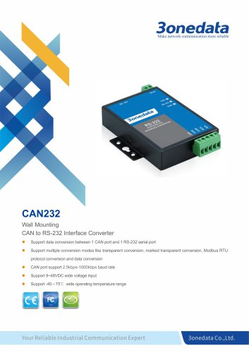 3onedata | CAN232 | 1-port CAN Bus to RS-232 Converter