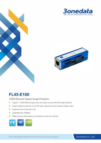3onedata | FL45 | 100M Ethernet Signal Surge Protector
