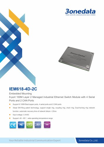 3onedata | IEM618-4D-2C | 8-port Embedded Industrial Ethernet Switch Module