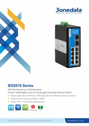 3onedata | IES2010-2GS  | DIN rail | Unmanaged | 8 port Industrial Ethernet Switch with 2 Gigabit SFP Sockets | Traffic System