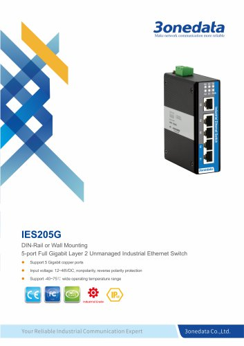 3onedata | IES205G | 5 ports Full Gigabit Industrial Ethernet Switch