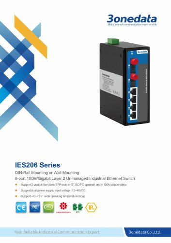 3onedata | IES206 | DIN rail | Unmanaged | 4+2G ports Industrial Ethernet Switch