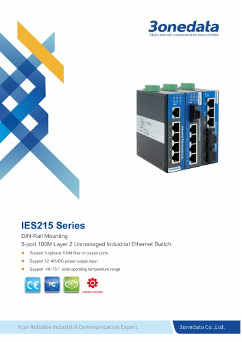 3onedata | IES215 | DIN rail | Unmanaged | 5 ports Industrial Ethernet Switch