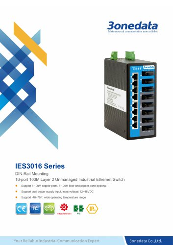 3onedata | IES3016 | DIN rail | Unmanaged | 16 ports Industrial Ethernet Switch