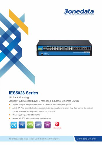 3onedata | IES5028-4GS | Managed | Rackmount | 24 ports Industrial Ethernet Switch with 4 Gigabit SFP sockets