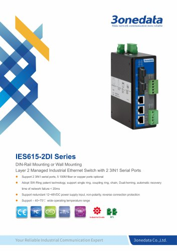 3onedata | IES615-2DI | Managed | DIN rail | 5 ports Industrial Ethernet Switch with 2 Serial ports