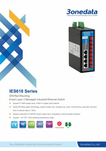 3onedata | IES618| Managed | DIN rail | 8 ports Industrial Ethernet Switch | automation and security