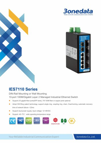 3onedata | IES7110 | Managed | DIN rail | 10 ports Industrial Ethernet Switch | Transportation