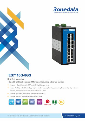 3onedata | IES7116G-8GS | DIN rail | Managed | Gigabit | 8 ports Industrial Ethernet Switch with 8 SFP slots