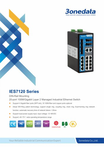 3onedata | IES7120-4GS | Managed | DIN rail | 16 ports Industrial Ethernet Switch with 4 Gigabit SFP sockets
