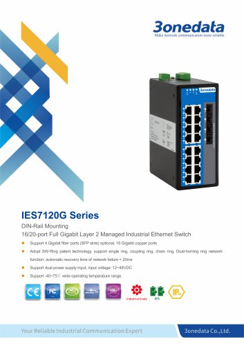 3onedata | IES7120G | DIN rail | Managed |  20 ports Full Gigabit Industrial Ethernet Switch