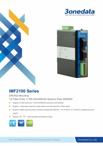 3onedata | IMF2100 | DIN-Rail Mounting 1-port RS-232/485/422 to Fiber Converter