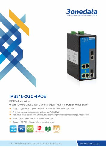 3onedata | IPS316-2GC-4POE | Unmanaged | 6 ports Industrial PoE Switch with 4-port POE