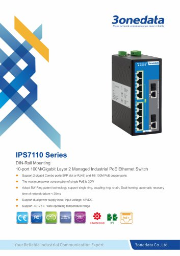 3onedata | IPS7110 | Managed | 10 ports Industrial PoE Switch