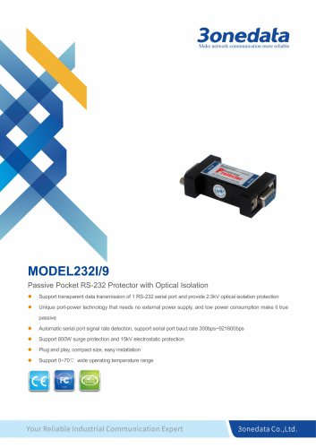 3onedata | Model232I | RS-232 Isolation Protector