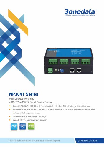 3onedata | NP304T | 4-port RS-232/485/422 Serial Device Server